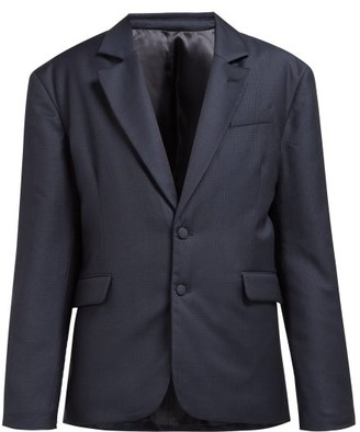 Martine Rose Small Check Padded Wool Blazer - Womens - Navy