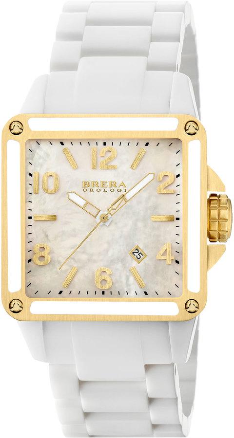 BreraBrera Stella Ceramic Yellow Gold IP Watch, White