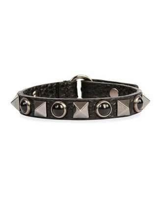 Valentino Rockstud Rolling Noir Leather Bracelet
