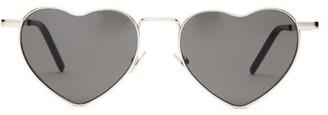 Saint Laurent Loulou Heart Shaped Metal Sunglasses - Womens - Silver Multi