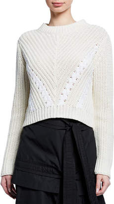 3.1 Phillip Lim Drape-Neck Cropped Cotton Pullover Sweater