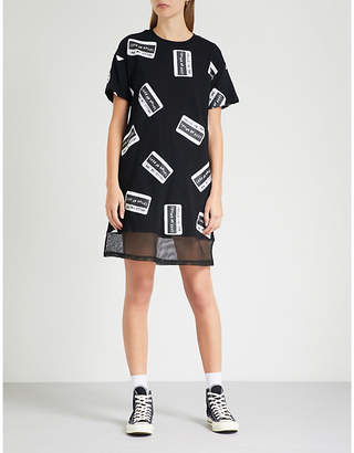Mini Cream Sticker-print cotton-jersey dress