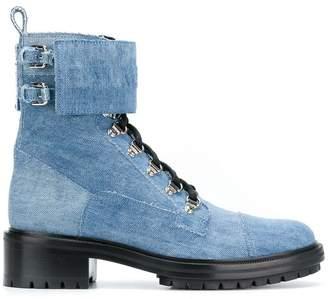 Balmain denim combat boots