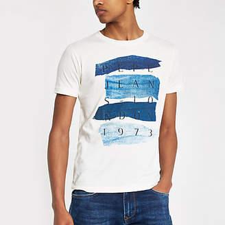 River Island Pepe Jeans cream slim fit '1973' T-shirt