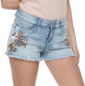 Vanilla Star Juniors' Embroidered Frayed MidRise Jean Shorts