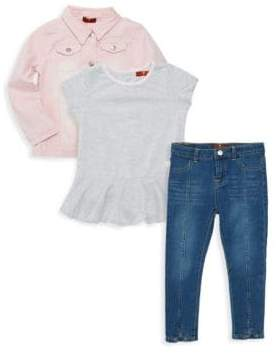 7 For All Mankind Baby Girl's & Little Girl's 3-Piece Jacket, Top & Jeans Set