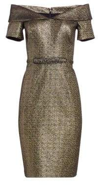 Teri Jon by Rickie Freeman OTS Off-The-Shoulder Metallic Cocktail Dress