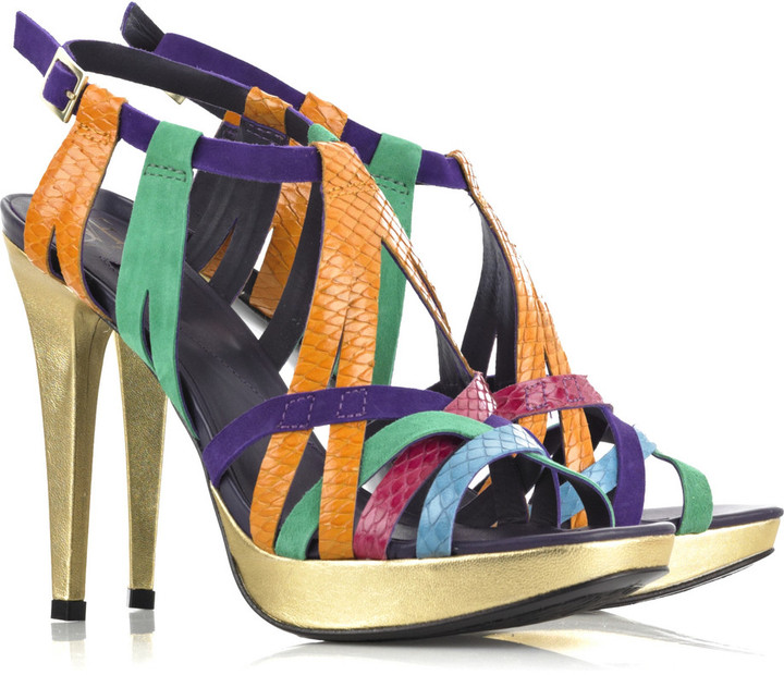 Diane von Furstenberg Suede and snake-effect leather sandals