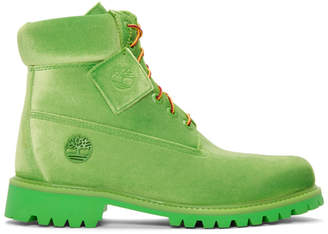 Off-White Green Timberland Edition 6 Inch Textile Boots
