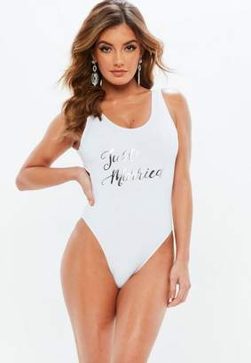Missguided Bridal White Just Married Swimsuit