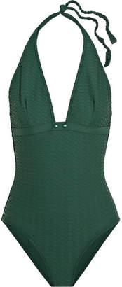 Eres Edito Media Matelassé Halterneck Swimsuit - Forest green