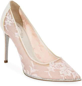 Rene Caovilla Grace Embellished Lace Satin Pumps, White