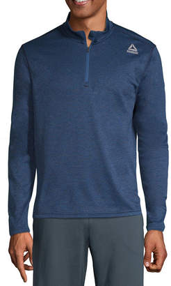 Reebok Mens High Neck Long Sleeve Quarter-Zip Pullover