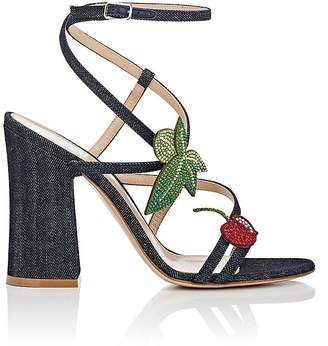 Gianvito Rossi WOMEN'S CRYSTAL-EMBELLISHED DENIM SANDALS