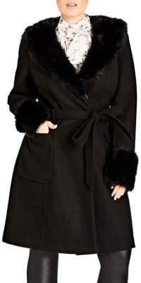 City Chic Plus Faux Fur Trim Long Sleeve Coat