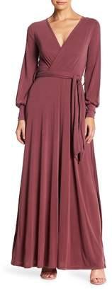 Couture Go Long Sleeve Maxi Faux Wrap Dress