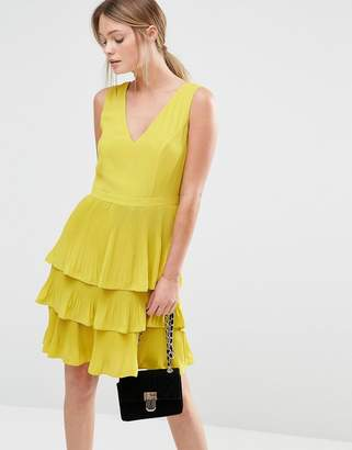 Oasis V Neck Pleat Tiered Dress $98 thestylecure.com