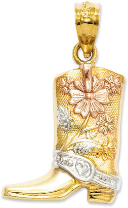 Macy's 14k Gold and Sterling Silver, Floral Boot Charm