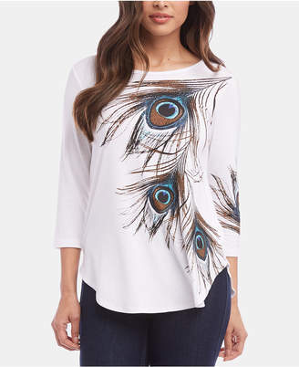Karen Kane Feather-Graphic Shirttail Top