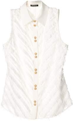 Balmain fringe-trimmed sleeveless shirt