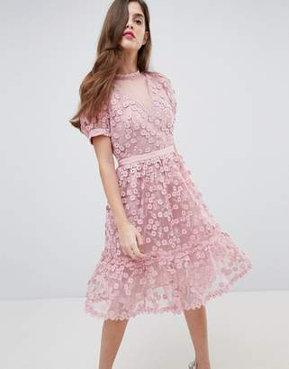 French Connection Lace Applique Dress with Mesh Panelling