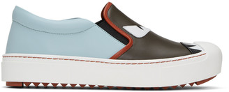 Fendi Grey & Blue 'Bag Bugs' Slip-On Sneakers $695 thestylecure.com