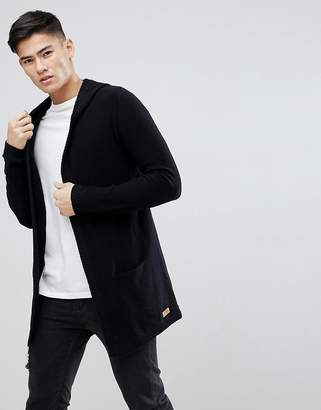 Esprit Longline Hooded Cardigan In Wool Blend
