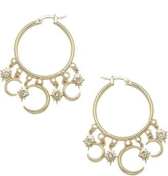 Ettika Moon Charm Hoop Earrings