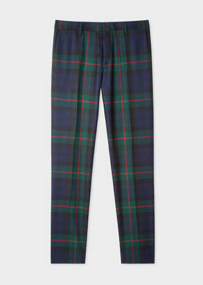 Paul Smith Men's Slim-Fit Navy, Green And Red Tartan Wool Pants