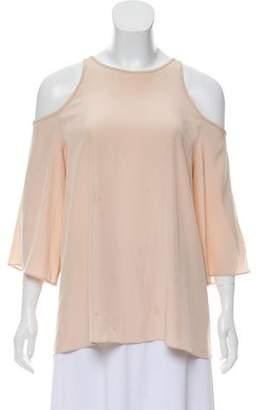 Tibi Silk Cold-Shoulder Top