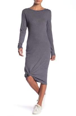 Alternative Long Sleeve Striped Midi Tee Dress