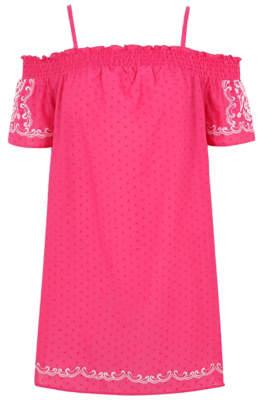 George Pink Embroidered Cold Shoulder Dress