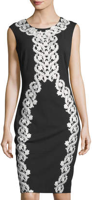 Jax Lace-Appliqué Midi Cocktail Sheath Dress
