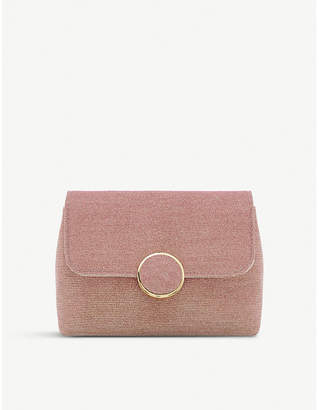 Dune Rose Gold Knitted Timeless Bayer Fabric-Knit Clutch Bag