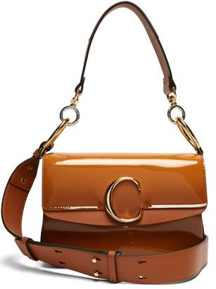 Chloé The C Patent Leather Shoulder Bag - Womens - Tan
