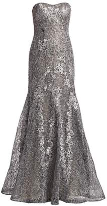 85ba0c125aeb Rene Ruiz Collection Strapless Metallic Floral Embroidered & Sequin Mermaid  Gown