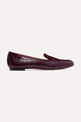 Aquazzura Purist Croc-effect Leather Loafers - Plum