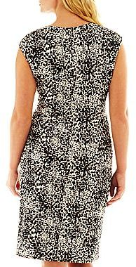 JCPenney 9 & Co.® Ruched Print Dress - Plus