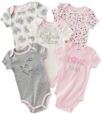 Calvin Klein Baby Girls' 5-Pk. Flowers & Hearts Bodysuits $42 thestylecure.com