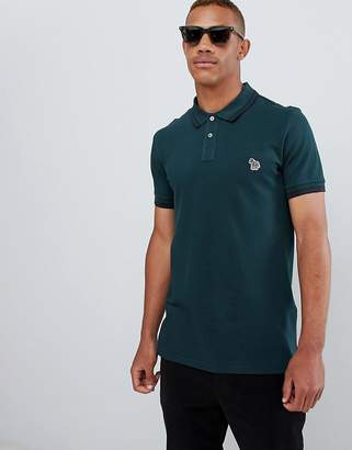 Paul Smith slim fit tipped zebra logo polo in green