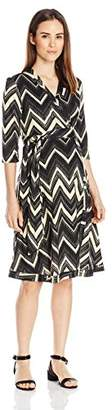 Everly Grey Women's Mila Maternity and Nursing 3/4 Sleeve Wrap Tie Dress