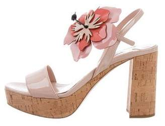 Miu Miu Hibiscus Flower Patent Leather Sandals w/ Tags
