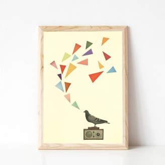Pigeon Cassia Beck Art and Photography Radio Bird Musical Art Print