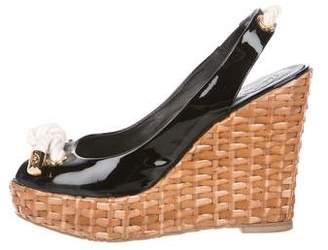 Tory Burch Wicker Wedge Sandals