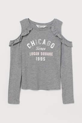 H&M Open-shoulder Top - Gray