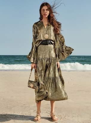 Michael Kors Crushed Silk Lame Tiered Skirt