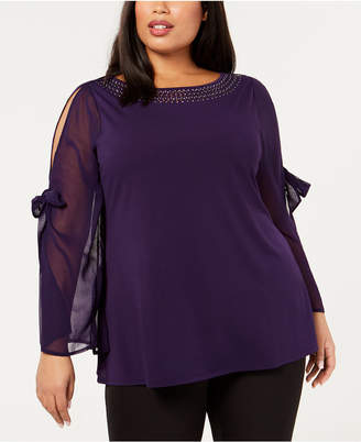 Belldini Plus Size Bowed Split-Sleeve Tunic Top