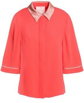 Roksanda Satin-Trimmed Silk-Crepe Shirt