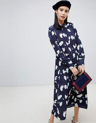 Monki midi face print shirt dress in navy