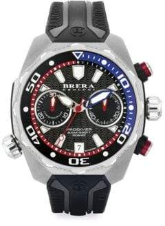 Brera Orologi Pro Diver Stainless Steel& Rubber Strap Watch